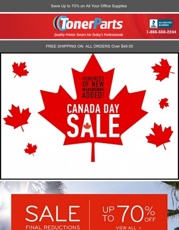 TonerParts Canada Day Sale Starts Today