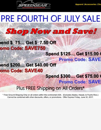 Red, White and Blue Summer Sale