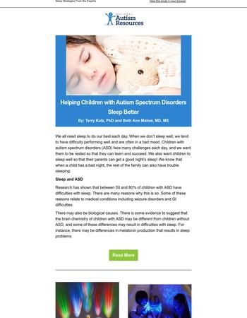 Helping Children with Autism Spectrum Disorders Sleep Better