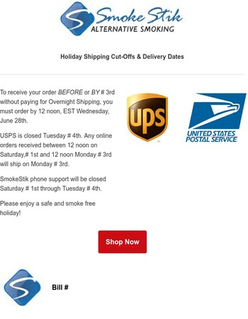 SHIPPING DEADLINE for 4th of July at SmokeStik