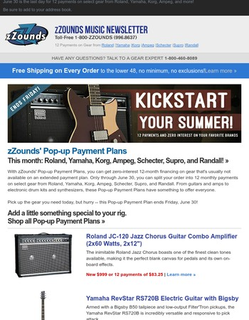 Ends Friday! 12 Payments on Roland, Yamaha, Korg, Ampeg, Schecter, Supro and Randall