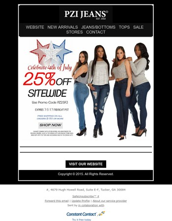 Celebrate the 4th of July By Taking 25% off Site Wide !