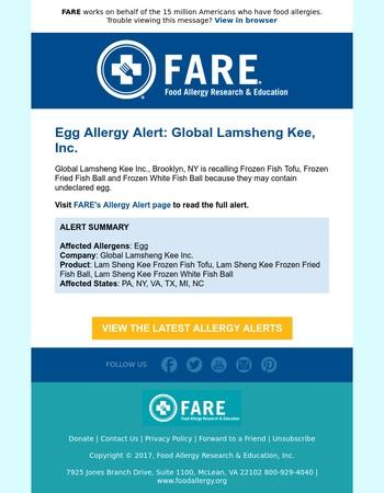 FAAN - Peanut Allergy Alert: New American Food Products, LLC