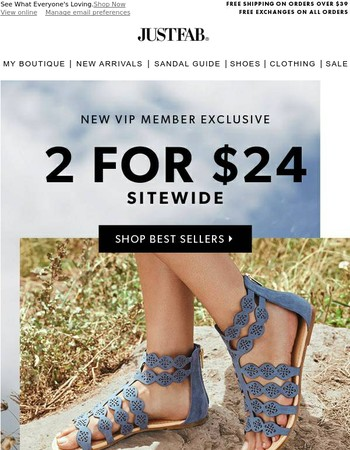 June's Best Selling Shoes: 2 for $24
