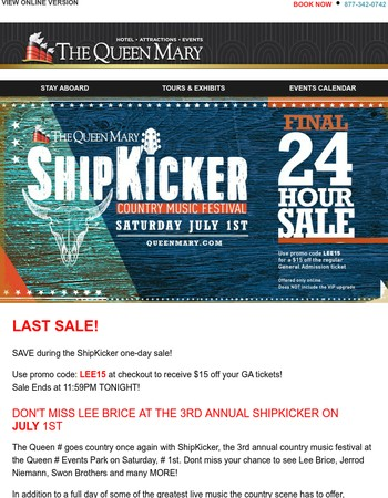 FINAL Sale to See Lee Brice at the Queen Mary