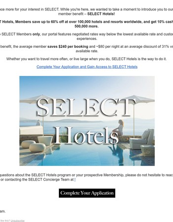 Take Your Vacation to the Next Level with SELECT Hotels