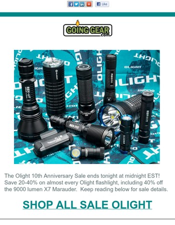 20-40% Off Olight 10th Anniversary Sale Ends Tonight!