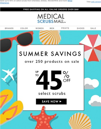 Summer Savings: up to 45% off Clearance Scrubs