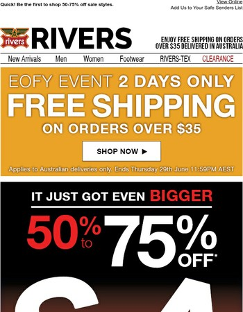 Sale just got BIGGER + FREE shipping over $35. 2 days only.