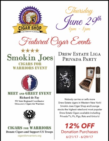 This Thursday! Cigars for Warriors Event and Drew Estate Liga Privada Party