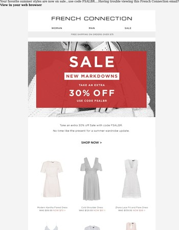 Right on time! New Markdowns Added...Extra 30% Off Sale