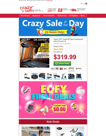 Today Only: Genki 2HP Treadmill,Save 40%