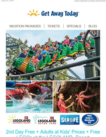 2nd Day Free + Adults at Kids' Prices + Free LEGOs at the LEGOLAND Resort