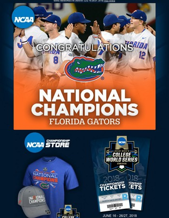 Congratulations Florida Gators - 2017 Men's Baseball Champions