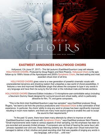 EastWest Announces Hollywood Choirs