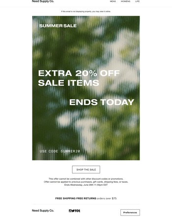 ENDS TODAY - EXTRA 20% OFF SALE ITEMS