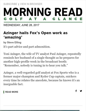 "Golf news: Azinger salutes Fox's work at U.S. Open as ""amazing""; Jay Williamson returns to golf's big stage feeling no pressure at U.S. Senior Open; and more"
