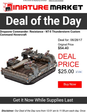 Deal of the Day - Dropzone Commander: Resistance - NT-5 Thunderstorm Custom Command Hovercraft.  Only $25.00!
