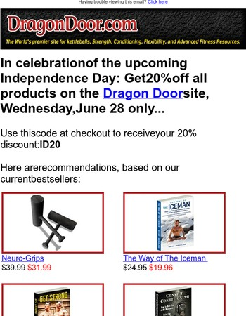 Independence Sale, 20% Off All Products