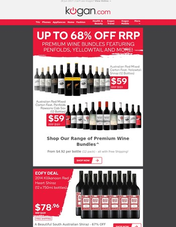 Wine Bundles up to 68% OFF RRP - Penfolds, Yellowtail & More!