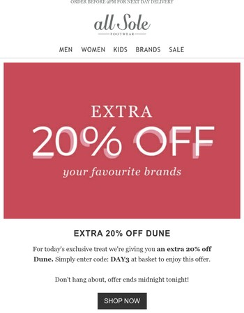 Day 3 | 24 hours only take 20% off the Dune Sale