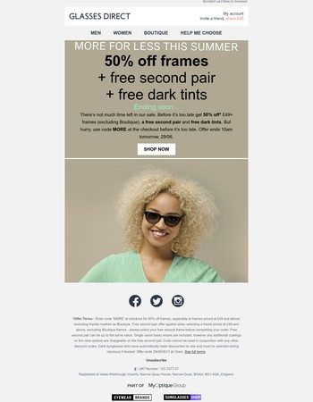 50% off frames + more ending soon