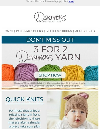 Quick Knits + 3 For 2 On Deramores Yarn!