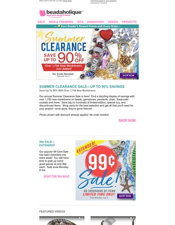 Summer Clearance is Here! Save Up to 90% with Thousands of New Markdowns