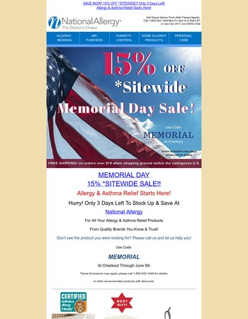 Only 3 Days Left To Save! MEMORIAL DAY 15% *SITEWIDE SALE At National Allergy - Allergy & Asthma Relief Starts Here!