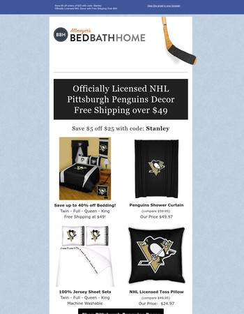 On Sale Now! NHL Pittsburgh Penguins Sports Fan Home Decor | Altmeyer's BedBathHome