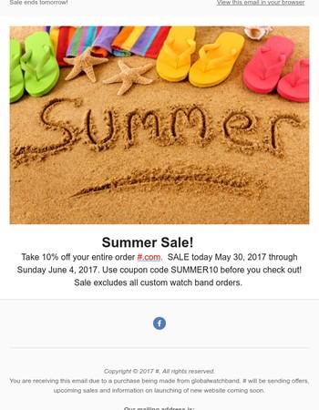 Summer Sale 10% OFF Entire Order
