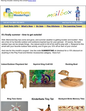 Silly summer fun at Heirloom Wooden Toys - and a new coupon too!