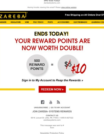 Don't Forget! Your Reward Points Are Worth Double!