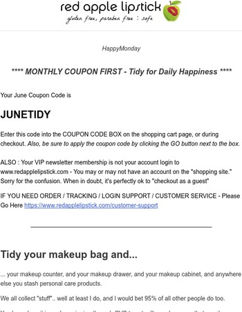 Your RAL June Coupon, + Tidy for Daily Happiness