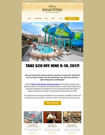 Bavarian Fest Savings! Take an Extra $20 Off Any Room Style at Zehnder's Splash Village...