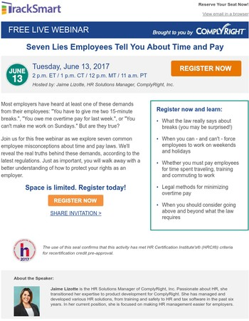 Free Webinar! Seven Lies Employees Tell You about Time & Pay