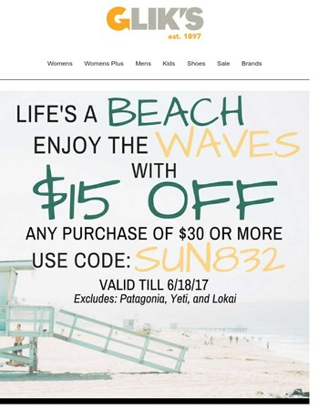 Say hello to summer with $15 off $30! ☀