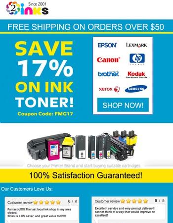 Get You Ink & Toner Cartridges Today - 17% Coupon Expiring Soon