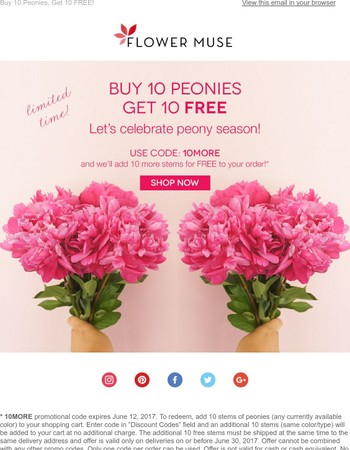 Buy 10 Peonies, Get 10 FREE!
