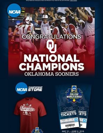 Congratulations Oklahoma Sooners - 2017 Women's Softball Champions