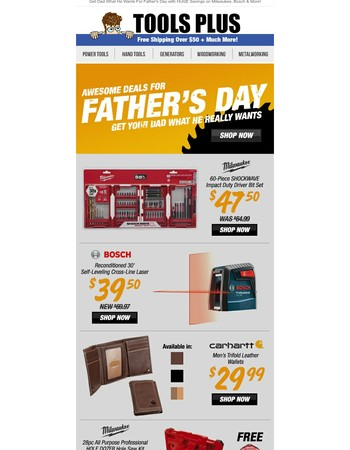 Awesome Father's Day Deals! Milwaukee 60pc Shockwave Impact Bit Set for $47.50 & More!