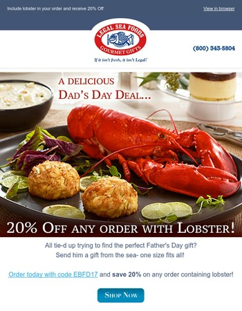 Father's Day Lobster Dinner Special