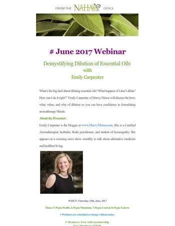 NAHA  June 2017 Webinar: Demystifying Dilution of Essential Oils with Emily Carpenter
