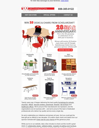 Don't miss our continuing 20th Anniversary furniture giveaway!