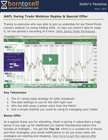 WallStreet.io AAPL swing trading webinar recording online now