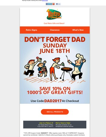 Celebrate Dad | Savings End Soon  - *Coupon Offer at Retro Planet