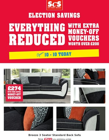 Everything reduced with money off vouchers worth up to £200