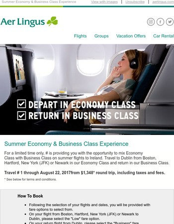 Summer Economy And Business Class Experience From $1,348*