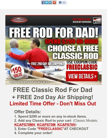FREE ROD & FREE 2nd Day Air Father's Day Deal