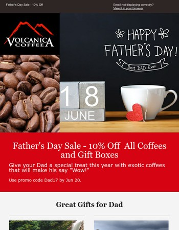 Father's Day Sale 10% Off + Free Shipping